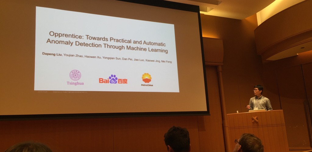 Dapeng Delivered His Opprentice Talk at IMC 2015 in Tokyo.