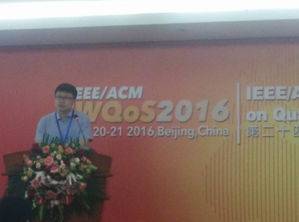 Menghan delivered his talk on M^3 at IWQoS 2016 in Beijing