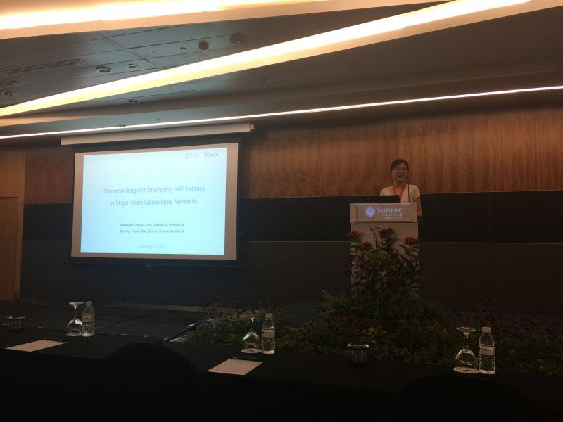 Kaixin delivered her talk on WiFiSeer at MobiSys 2016 in Singapore
