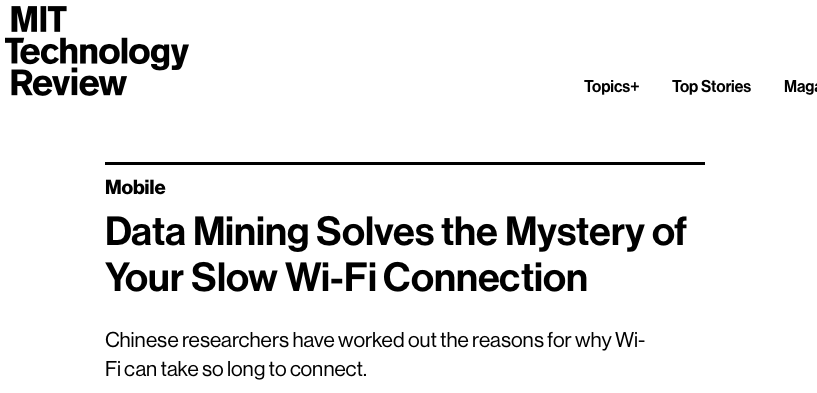 Our Study on Slow Wi-Fi Connection Was Covered on MIT Technology Review