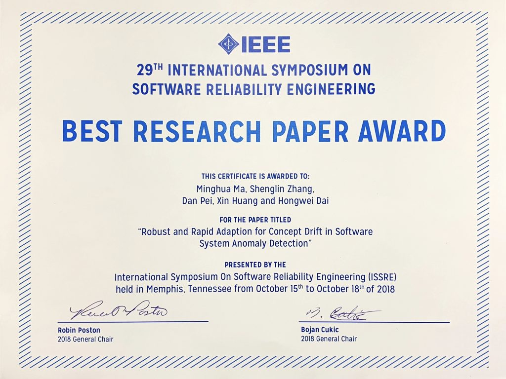 Congrats to Minghua and Shenglin on their ISSRE'18 Best Paper!